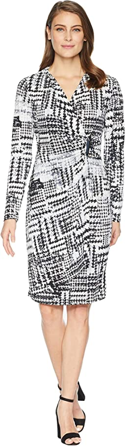 Printed Faux Wrap Jersey Dress CD8AC32R
