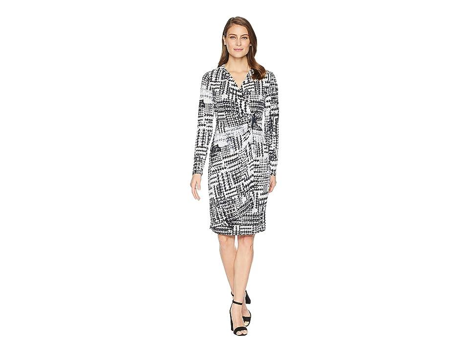 Calvin Klein Printed Faux Wrap Jersey Dress CD8AC32R (Black Multi) Women