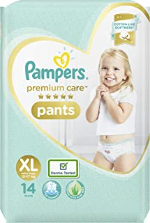 Pampers Premium Care Pants, Extra Large size baby diapers (XL), 14 Count, Softest ever Pampers pants
