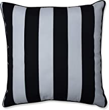 "Pillow Perfect Outdoor/Indoor Cabana Stripe Floor Pillow, 25"" x 25"", Black"
