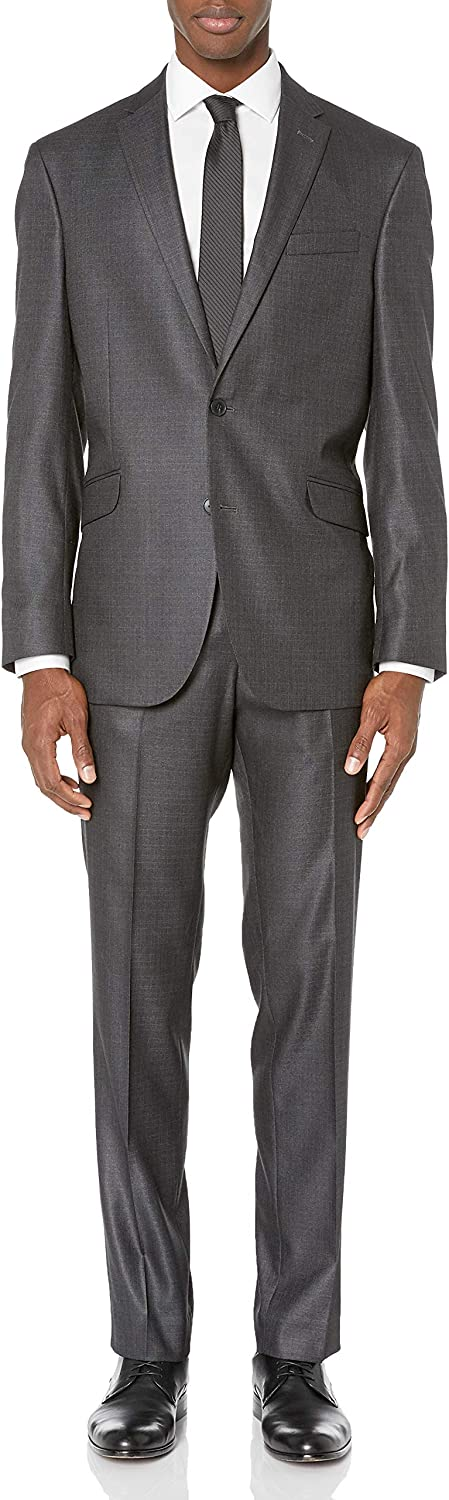 Unlisted by Kenneth Cole Men's 2 Button Slim Fit Suit with Hemmed Pant