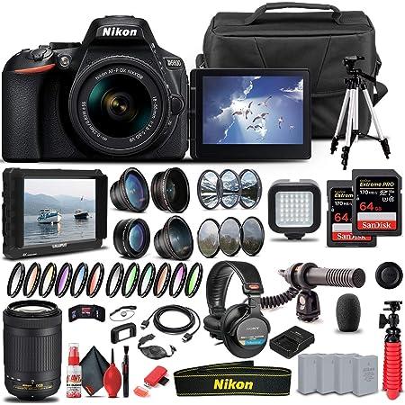 Nikon D5600 DSLR Camera with 18-55mm Lens (1576) + Nikon 70-300mm Lens + 4K Monitor + Pro Headphones + Pro Mic + 2 x 64GB Card + Case + Corel Software + Tripod + More (International Model) (Renewed)