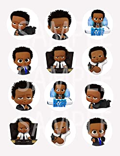 """Black Boss Baby Stickers, Large 2.5"""" Round Circle DIY Stickers to Place onto Party Favor Bags, Cards, Boxes or Containers -12 pcs, African American"""