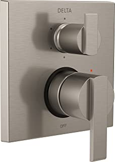 Delta Faucet T24967-SS, Stainless Ara Angular Modern Monitor 14 Series Valve Trim with 6-Setting Integrated Diverter