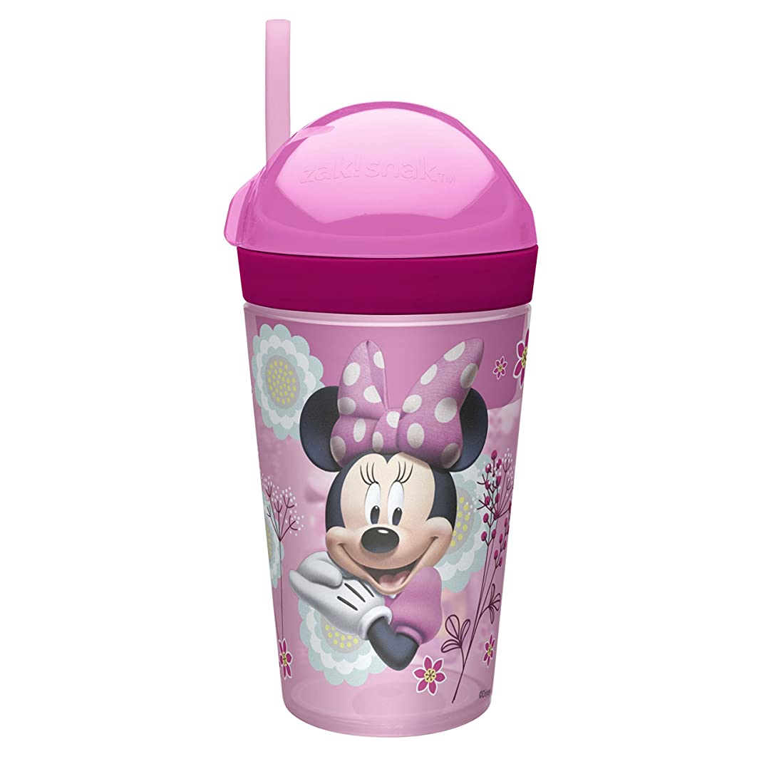 Zak Designs Minnie ZakSnak All-In-One Drink Tumbler + Snack Container For Toddlers – Spill-proof 4oz Snack Container Screws Securely Onto 10oz Tumbler With Accessible Straw, Minnie Bowtique