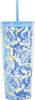 Lilly Pulitzer Double Wall Insulated Tumbler with Reusable Flexible Straw, Holds 24 Ounces, Turtley Awesome