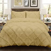 3 Piece Diamond Ruffle Duvet Cover with Zipper & Corner Ties 300% Egyptian Cotton Premium Hotel Class Decorative Bedding (Single, Taupe)
