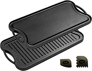 """Cast Iron Griddle (20"""" by 10""""), Reversible, Pre-Seasoned, Grill and Griddle Combo Pan, BBQ, Campfire, fits Over Two stovetop Burners"""