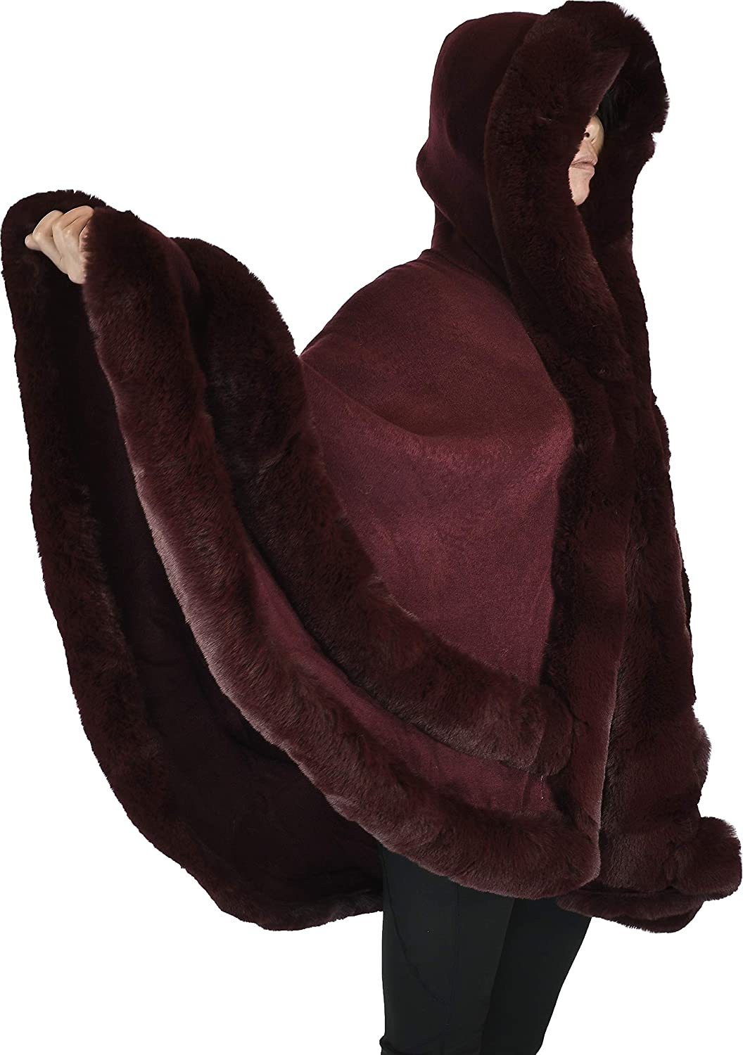 Hand By Hand Double Faux Fur Trimmed Cape Oversized Poncho Hood Cape