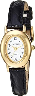 Viva Time Women's 'Timetech Oval Petite' Quartz Metal and Leather Casual Watch, Color Black (Model: 2685L)