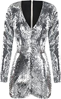 HaoDuoYi Womens Mardi Gras's Sparkly Sequin V Neck Party Clubwear Romper Jumpsuit