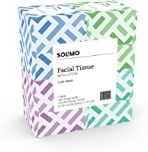 Amazon Brand - Solimo Facial Tissues with Lotion, 75 Tissues per Box (4 Cube Boxes)