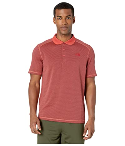 The North Face Short Sleeve Horizon Polo (Sunbaked Red Stripe) Men
