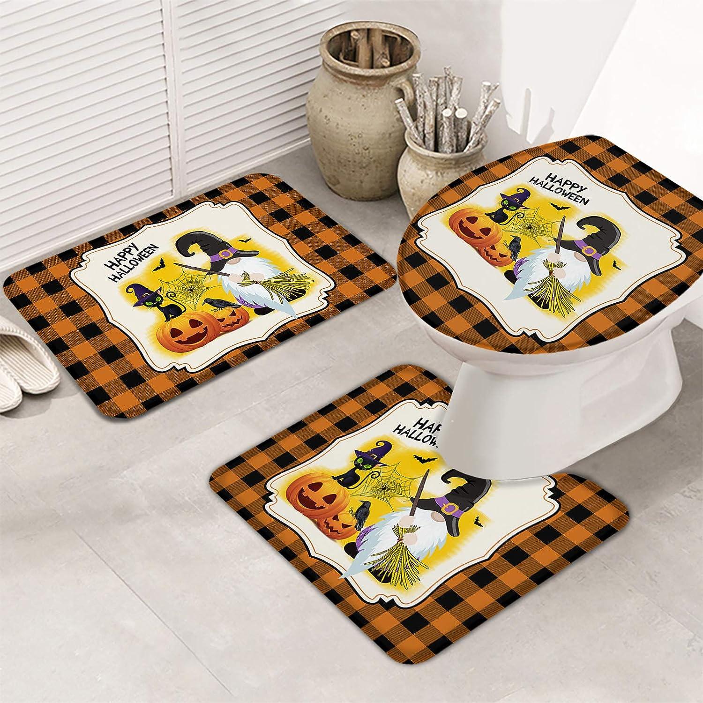 Bath Rugs Set 3 Piece for Ranking TOP9 price Bathroom Halloween Pumpki Gnome Happy