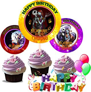 Crafting Mania LLC. 12 Nightmare Before Christmas Birthday Inspired Party Picks, Cupcake Picks, Cupcake Toppers #2