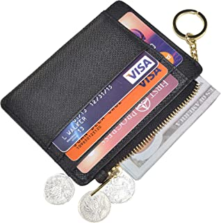 Womens Slim RFID Credit Card Holder Mini Front Pocket Wallet Coin Purse Keychain - Black - Small