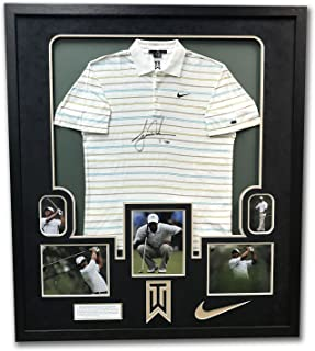 982c3a29ba6 Tiger Woods Tournament Worn & Autographed Nike Golf Polo In 43x49 Frame UDA  ...
