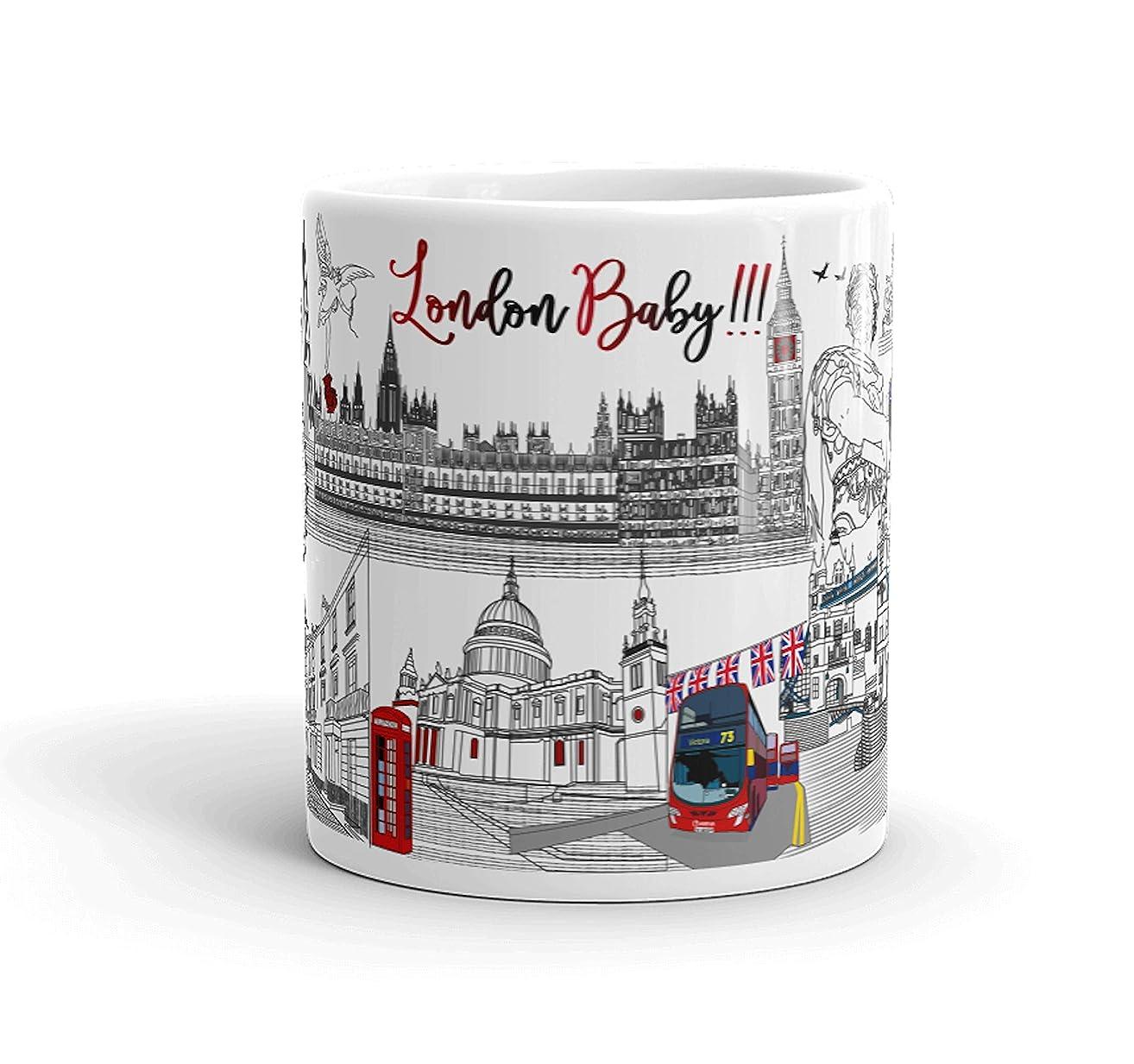 London Cityscape Mug - London Souvenir Mug - London Travel gift - London Coffee Mug - London City Skyline - London Lover Gift - 11 Ounces, 15 Ounces, White Ceramic Coffee Mug