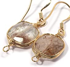 Genuine Natural Gemstone Wire Wrap Dangle Drop Earrings Gold Plated 925 Sterling Silver Hook/Brown Rutile Quartz Square