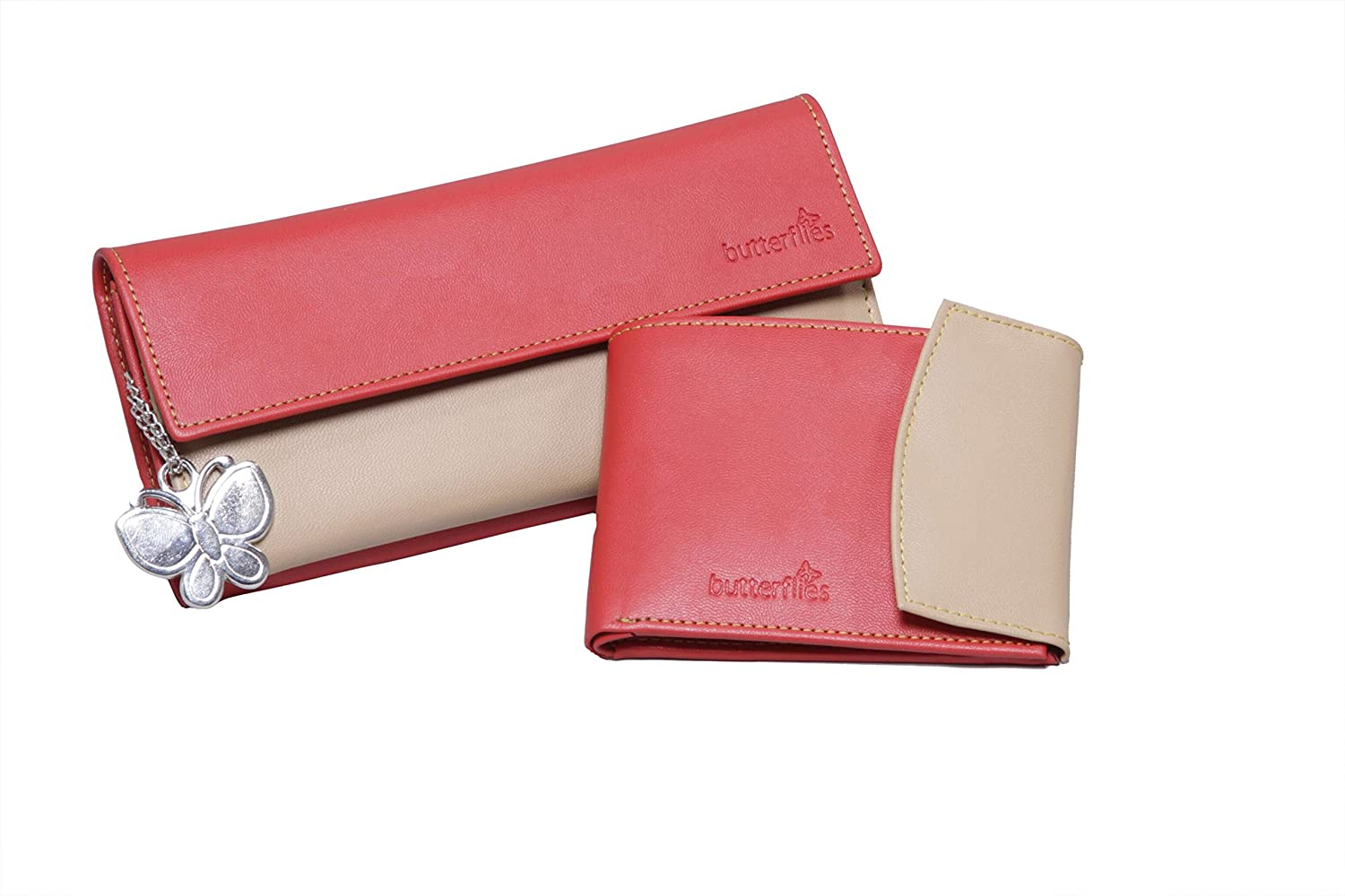 Butterflies Women's Wallet (Red and Beige) (BNS C019)