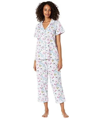 BedHead Pajamas Short Sleeve Classic Cropped Pajama Set (Cotton Spandex) (Florist) Women