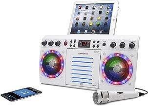 iKaraoke KS303W-BT Bluetooth CD&G Karaoke System, White