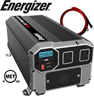Energizer 3000 Watt 12V Power Inverter, Dual 110V AC Outlets, Automotive Back Up Power Supply Car Inverter, Converts 120 Volt AC with 2 USB Ports 2.4A Each
