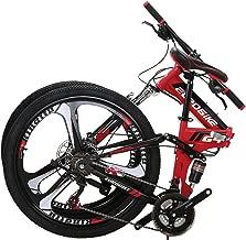 Eurobike EURG4 Mountain Bike 26 Inches 3 Spoke Wheels Dual Suspension Folding Bike 21 Speed MTB