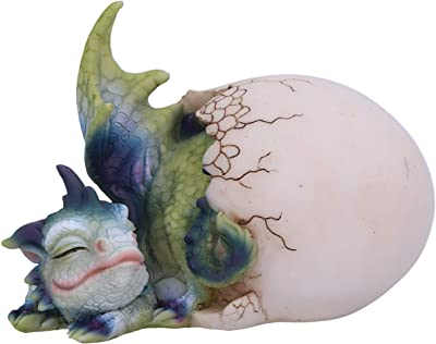 Nemesis Now Hatchling's Rest Dragon Figurine, Green/Purple, 12cm