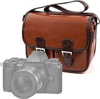 DURAGADGET Bolsa Profesional marrón con Compartimentos para cámara Olympus E-M1 II E-PL8 OM-D E-M10 Mark II Pyrus Double Screens Waterproof Kodak Pixpro AZ901.