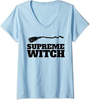 Womens Supreme Witch funny Halloween Witch  V-Neck T-Shirt