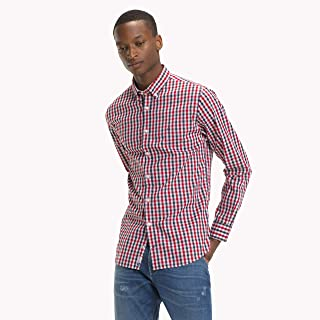 TOMMY HILFIGER Men's Gingham Check Oxford Shirt, Red/Black Iris/Multi