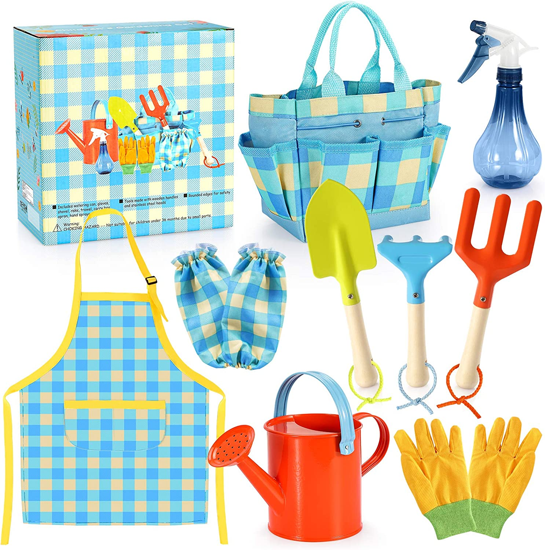 Kids Gardening Set - Kids Gardening Tools Set Colorful Children Garden Tools Fun STEM Toys with Watering Can, Gloves, Shovel, Rake, Trowel, Storage Bag, Apron, Sprayer - Gifts for Boys and Girls : Toys & Games
