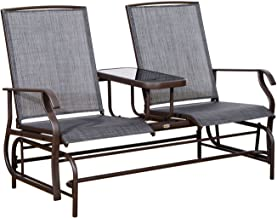 Outsunny 2 Person Outdoor Mesh Fabric Patio Double Glider Chair with Center Table