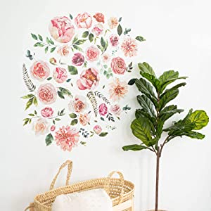 Flower Wall Decor | Floral Wall Decals for Girl Nursery Wall Decor | Removable Boho Wall Decals | Peony Wallpaper | 76 Flower Decals for Wall | Wall Decal Nursery Wallpaper | Floral Wall Decor