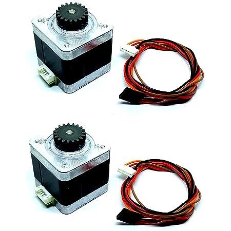 INVENTO 2pcs Nema 17 4.2 Kg cm Bipolar Stepper Motor with 19 teeth Gear for CNC Robotics RepRap 3D Printer