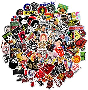 100 PCS Rock Band Sticker Pack Punk Sticker Decal Rock and Roll Music Sticker for Adults Teen Vinyl Sticker for Party Decor Water Bottle Scrapbook Guitar Skateboard Luggage