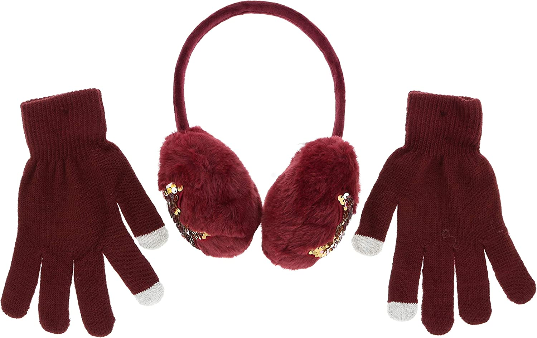 Alexa Rose Womens Ear Muff and Glove Set Maroon, Sequin Star