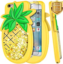 iPhone 6 Plus / 6S Plus Glitter Case w/[Screen Protector Premium HD Clear], NageBee Liquid Waterfall Floating Flowing Shiny Sparkle Bling 3D Soft Flexible Funny Girls Cute Case -Pineapple
