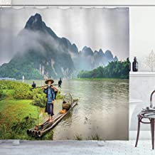 Ambesonne Lake House Decor Collection, Traditional Chinese Fisherman with Birds and Basket on River Fog Mountains Nature Trees, Polyester Fabric Bathroom Shower Curtain Set with Hooks, Multi