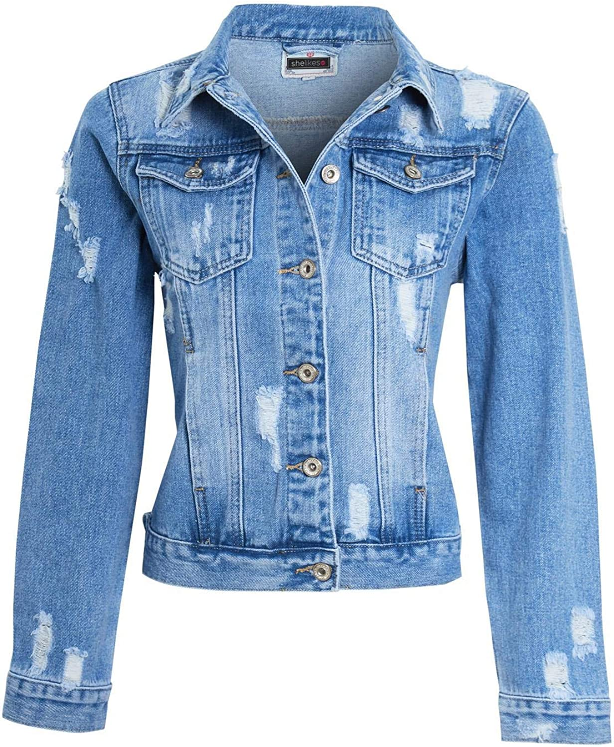 shelikes Womens Denim Jacket Ladies Blue Ripped Distressed Button Up Vintage Wash Size 8-16