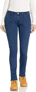 pantalón de Carpintero de Jean elastizado Recto Delgado para Mujer