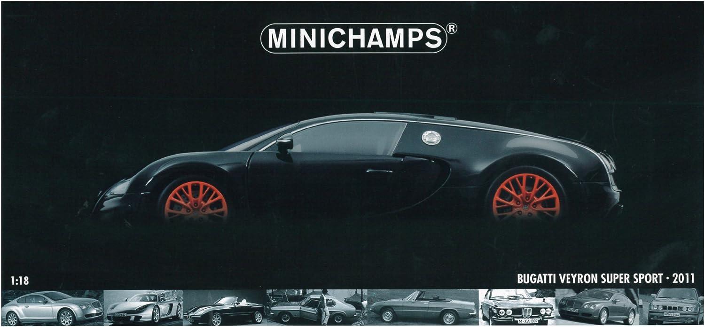 Bugatti 1 18 18 18 Scale Veyron Super Sport 2010 (Metallic Black with orange) b79cf7