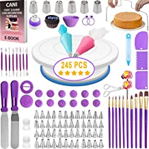 Cani 210 PCS Cake Decorating tools-kit with Rotating Cake Turntable Stand,55 Numbered Piping Tips Set,2 Spatulas,Cake Leve...