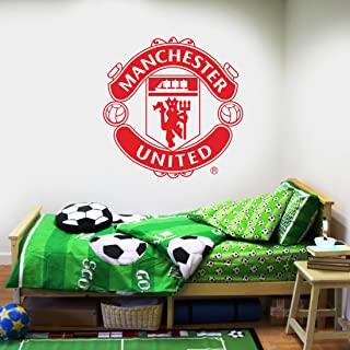 Manchester United Football Club Official (ONE Colour) Crest Wall Sticker + Man Utd Logo Decal Set Vinyl Poster Print Mural Art (90cm, Red)