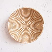 Small African Basket- Ntamba/Rwanda Basket/Woven Bowl/Sisal & Sweetgrass Basket/Tan, White