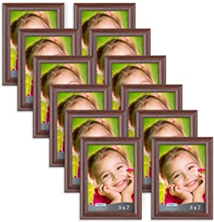 Icona Bay 5x7 Picture Frame (12 Pack, Teak Wood Finish), Photo Frame 5 x 7, Composite Wood Frame for Walls or Tables, Set of 12 Lakeland Collection