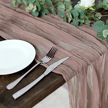 Efavormart 10FT Dusty Rose Cheesecloth Table Runner, Gauze Fabric Boho Wedding Arbor Decor