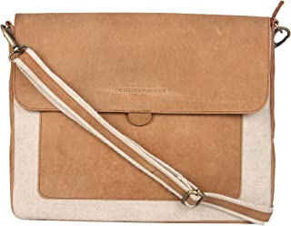 13 - 13.3 inch Leather Sleek Handmade Sleeve |Shoulder bag | Messenger Bag | Office Briefcase with detachable shoulder strap compatible with MacBook Ultrabook Chromebook Notebook - Beige and TAN