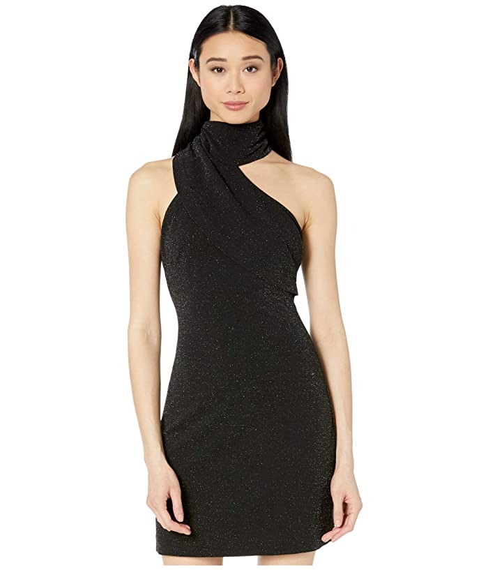 Badgley Mischka  Twinkle Crepe Fitted Asymmetrical Cocktail Dress (Black) Womens Clothing